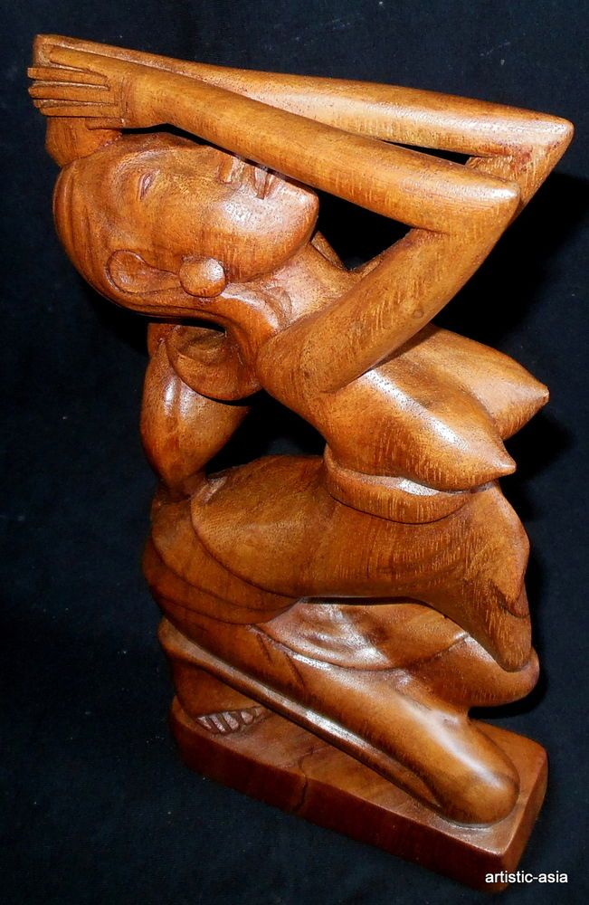 vintage balinese wood carved young woman bust hand crafted