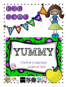 It's an Esl game based on the original game 'YUM'. It was created for cycle 1 and 2 students. Students practice either vegetables or fruit vocabulary. The game includes: a rule sheet, game cards, dice templates and language cards. It's all in colour except for the language cards.