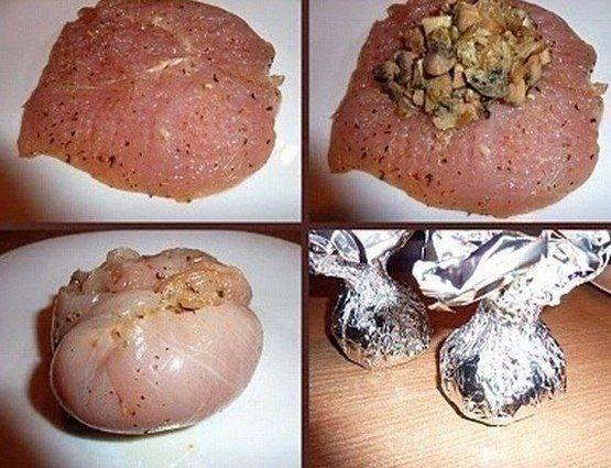 Фото к рецепту: Курица с грибами или куриные бомбочки