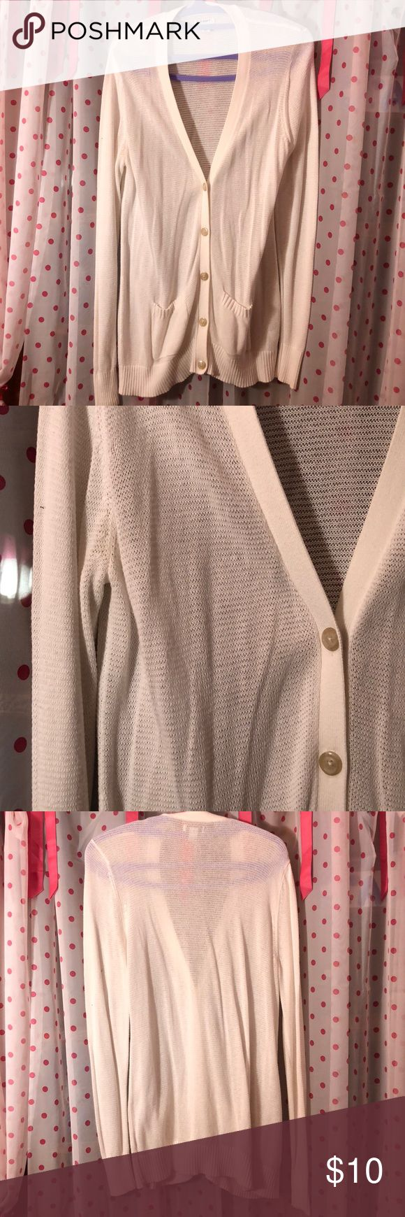 Long white cardigan White Old Navy cardigan almost mesh like, in great condition! 58% cotton 42% viscose Old Navy Sweaters Cardigans