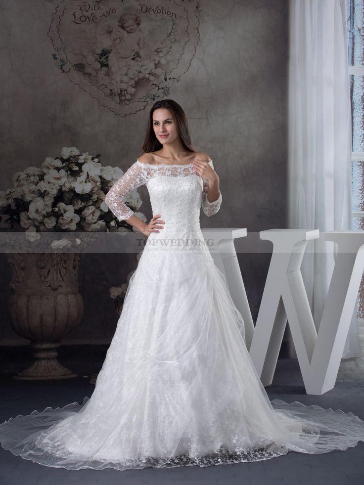 Quimoy - robe de mariée a-ligne traîne mi-longue en dentelle avec perlage