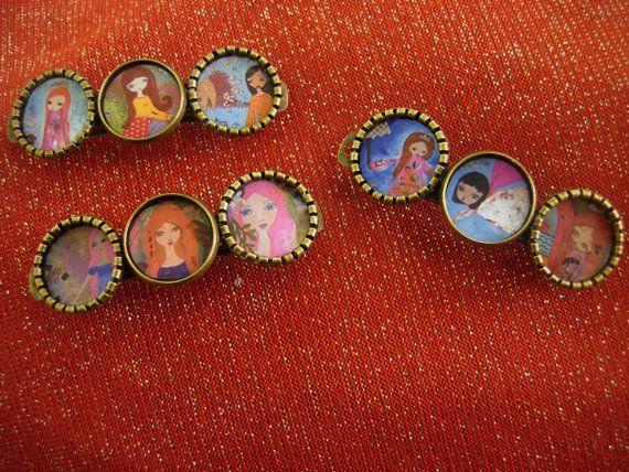 Art Illustrated unique vintage antiqued hair clipspins  by eltsamp, $18.00