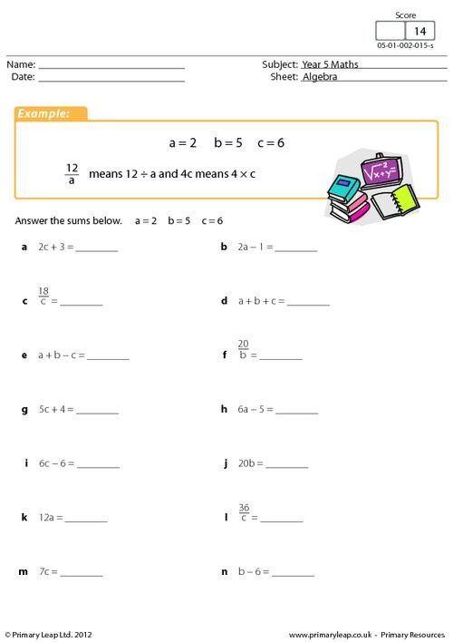 Writing Algebraic Expressions Worksheet Numeracy Simple ...