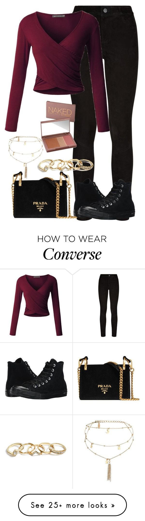 """Untitled #713"" by ayalikeschicken on Polyvore featuring Paige Denim, LE3NO, Converse, Prada, Ettika, GUESS and Urban Decay"