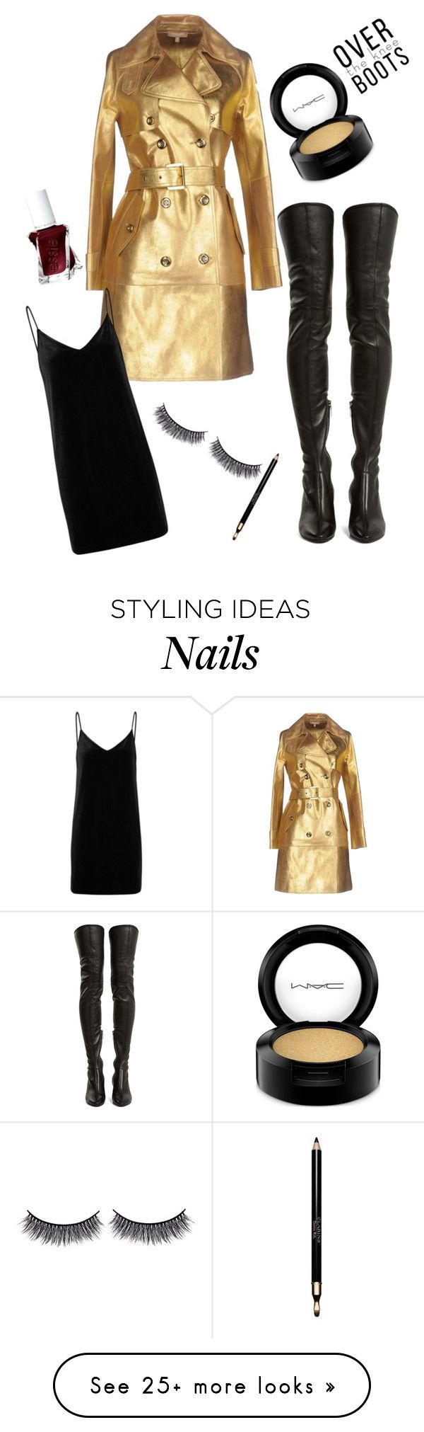 """goldfinger"" by eva-jones-i on Polyvore featuring Michael Kors, Yves Saint Laurent, rag & bone/JEAN, MAC Cosmetics, Clarins, Battington and Essie"