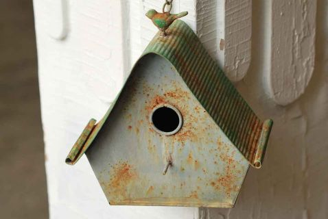 "Cottage Chic Chippy Birdhouse.  This charming rustic metal birdhouse is white and green with chippy accents.  The roof is a corrugated style with rolled edges and a vintage style bird sits atop.  Comes with a chain and hook to hang. Measures 8.75"" x 5"" x 9"""