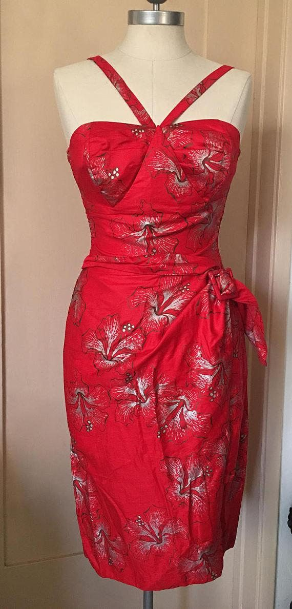 e245a283298f Vintage 50's Alfred Shaheen Hawaiian Wrap Style Dress   My Personal ...