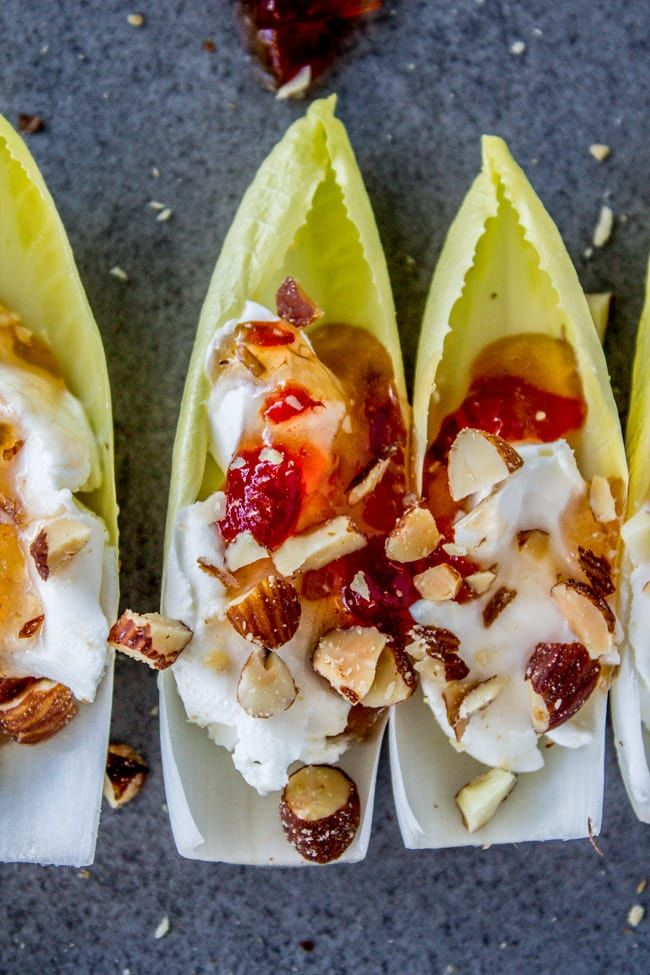 Smokey Almond Cream Cheese Endive Bites by The Food Charltan
