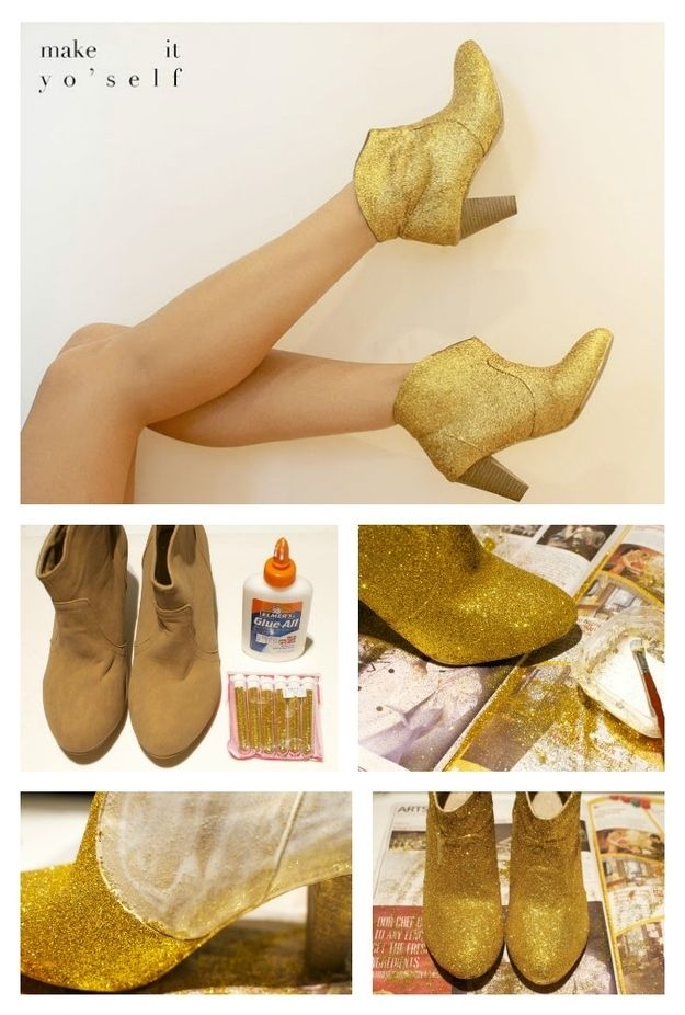 Glitter /  14 DIY Boots That Were Made For Walking (via BuzzFeed)