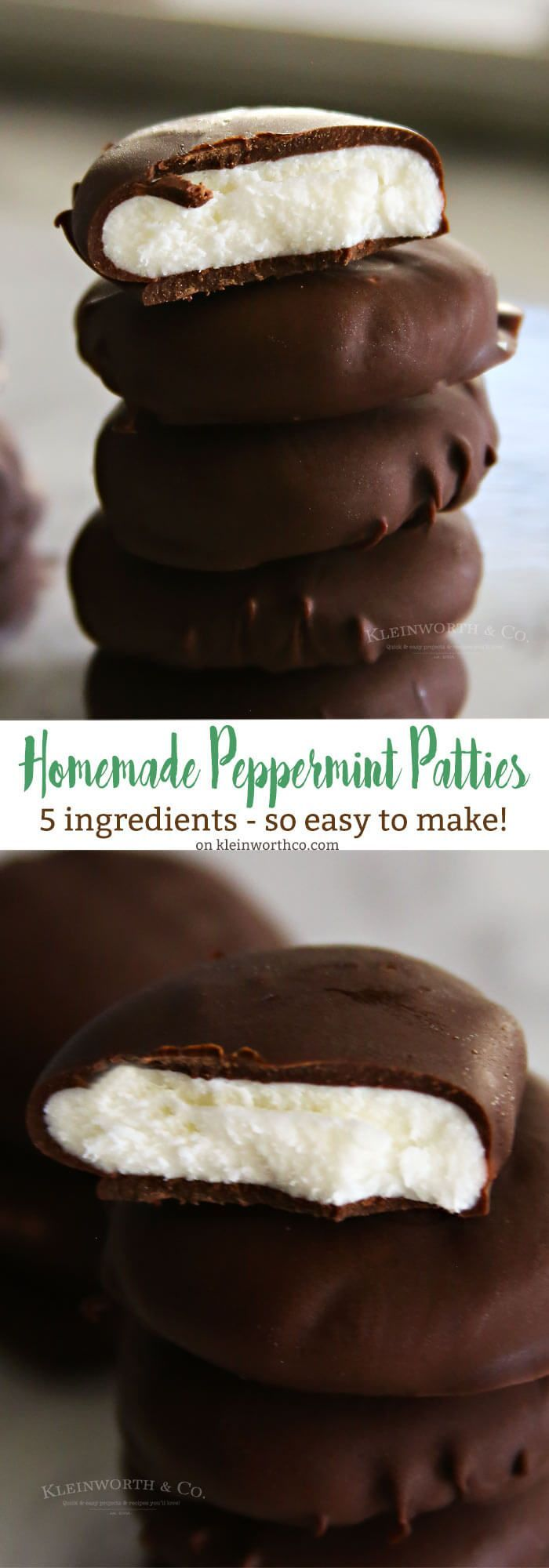 Homemade Peppermint Patties are one of the easiest minty desserts to make for St. Patrick's Day or any other holiday. Dark chocolate & mint! via @KleinworthCo