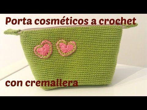 Porta cosmeticos a crochet y cremallera incorporada con ganchillo - YouTube