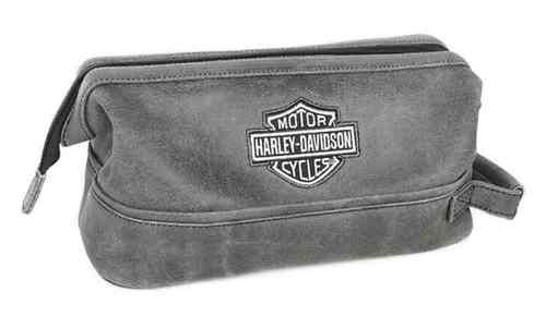 Free shipping - Harley-Davidson Bar & Shield Distressed Leather Toiletry Kit, Gray 99609-GRY - For the Home/Bags & Luggage/Travel Luggage -