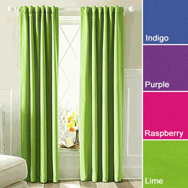 "Twill 95"" Lime Long Eclipse Thermaweave Blackout Curtain Insulated Panel $27"