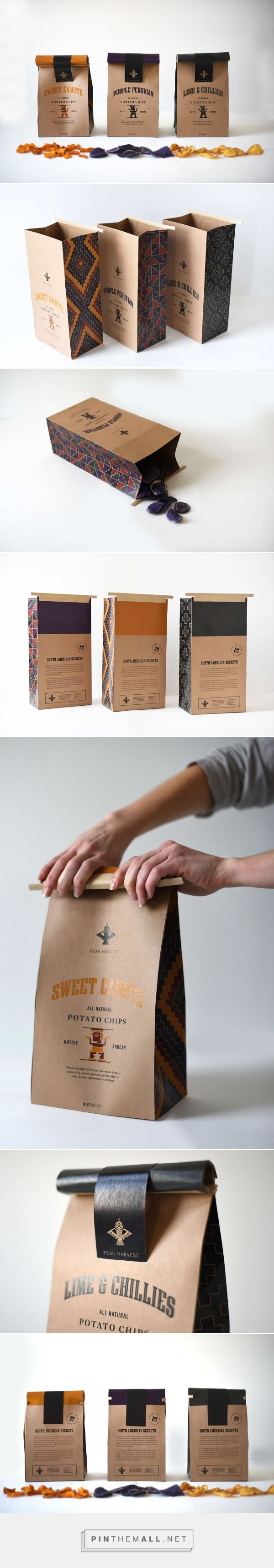 Packaging Pick Of The Day Branding, illustration and packaging for Potato Chips on Behance by Josie Mazsk Charleston, SC curated by Packaging Diva PD. Redesigned chip bags are made from 40% recycled natural kraft paper and lined with PLA, a renewable and compostable film made from corn.