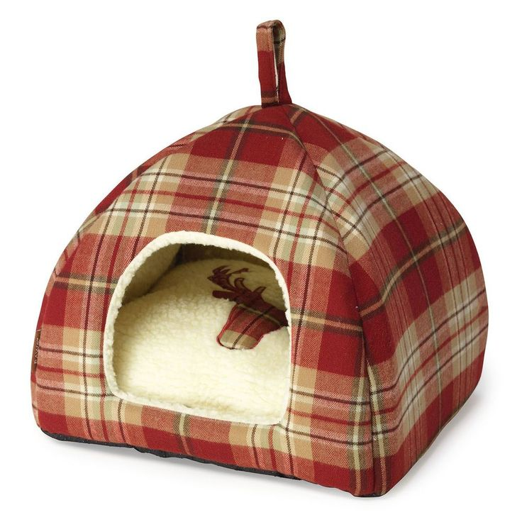 Red Cat Bed Igloo Hooded Tweed Fabric Polyester Dogs Kittens Puppies Pets Cave