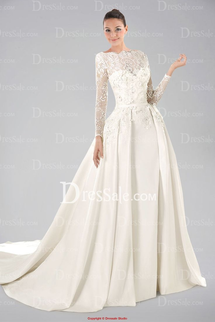 Noble long lace sleeve satin wedding gown with appliques for Satin and lace wedding dresses