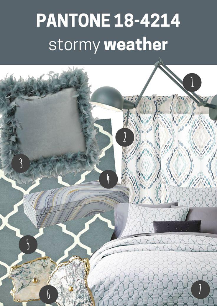 pantone 18-4214 stormy weather   sypialnia // bedroom