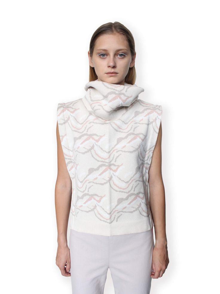 Jacquard Knitted Vest-Beige