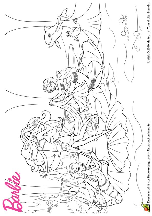 340 best images about coloriages barbie on pinterest - Barbie sirene coloriage ...