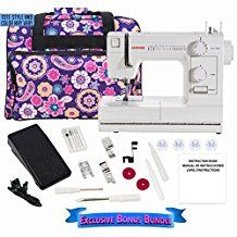Janome Sewing Machine HD1000 Heavy Duty Sewing Machine with Exclusive Bonus Bundle 14 Built-In Stitches Made to last with an Industrial-Grade Cast Aluminum-Body - Switch from fine to Heavier Fabrics with Ease.
