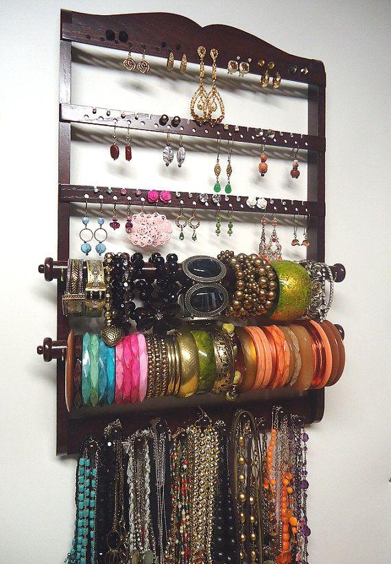 Jewelry Holder, Double Bangle Bracelet, 54-108 Pair Earring Display Rack, Dark Mahogany, Oak, Wood, 11 Peg Necklace Organizer on Etsy, $64.95