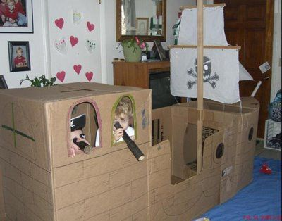 Cardboard pirate ship.  My kids are too old for this perhaps but it reminds me of the box houses they made to play in.