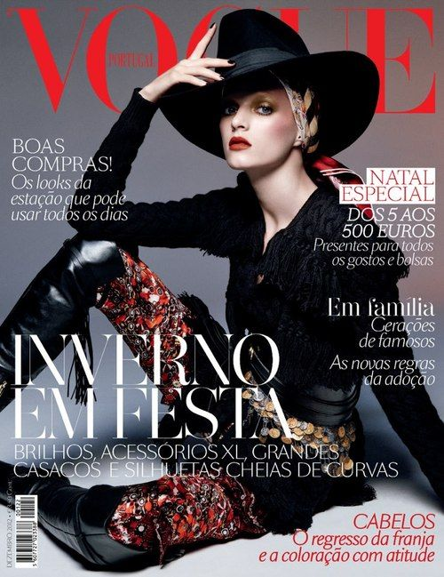 Daria Strokous graces the December 2012 issue of Vogue Portugal. Photographed by Daniel Jackson.