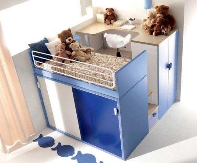 Habitaci n para ni o con litera y armarios debajo de color - Armarios para habitacion ...