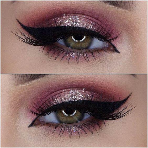 Burgundy & Champagne Eye Glitter Look