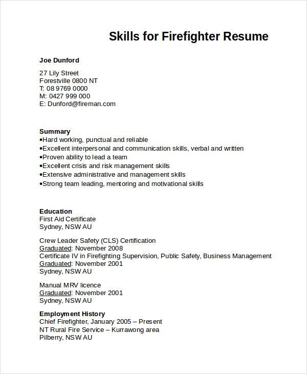 Skills For Firefighter Resume Firefighter Resume Essay Writing Skills Resume Skills