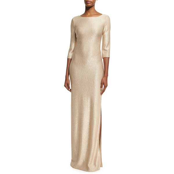 St. John Collection Sequined Knit 3/4-Sleeve Gown (4,980 ILS) ❤ liked on Polyvore featuring dresses, gowns, gold, pink ball gown, sequin ball gown, pink evening dress, pink dress and sequin evening gowns