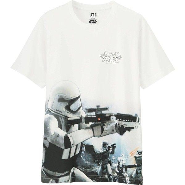 UNIQLO STAR WARS Short Sleeve Graphic T-Shirt (1.850 HUF) via Polyvore featuring men's fashion, men's clothing, men's shirts, men's t-shirts, white, mens short sleeve t shirts, mens short sleeve shirts, mens graphic t shirts, mens cotton t shirts and mens galaxy shirt