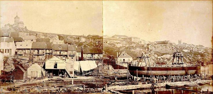Cuthbert's Shipyards at Darling Harbour,Sydney in 1865. Original photograph by Freeman Brothers.