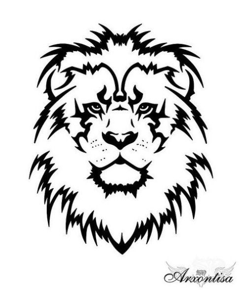 Lion Face Drawing Tribal 1000+ images about Woo...