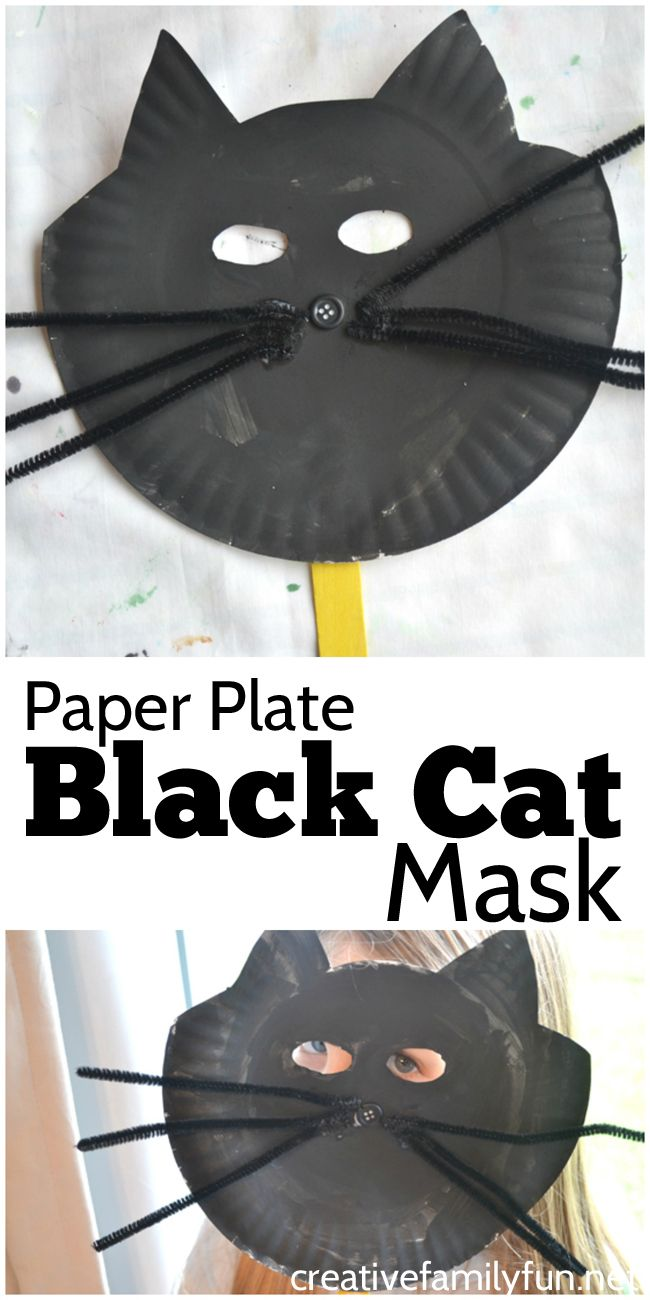 Make these fun paper plate black cat masks with your kids this Halloween.