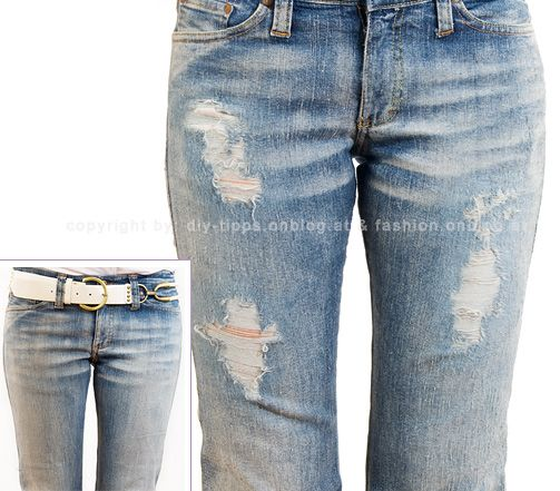 Fashion DIY Tutorial: Used (Destroyed) Jeans Homemade DIY - Outfits, Shoes & Accessories Dana's Fashion Blog