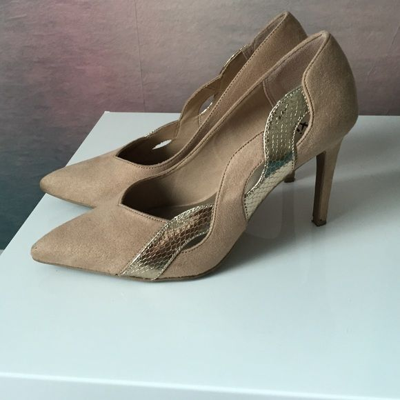 Gold & Tan Pumps Wore these a few times in good condition, has a few dirty spots but could probably be removed with a suede shoe cleaner. Shoes Heels