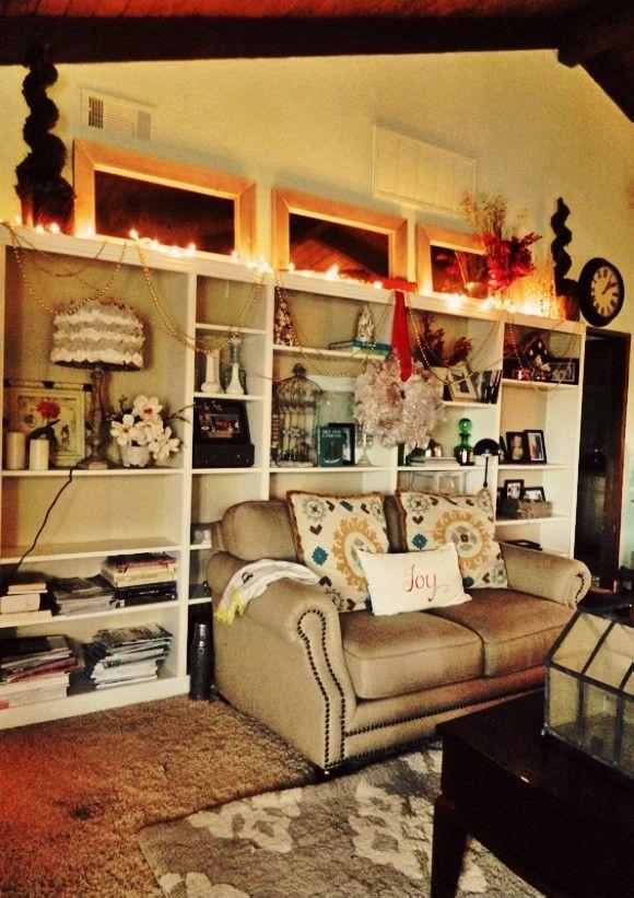 2013 diy christmas bookcase decors christmas home decor