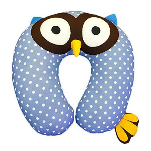 Neck Pillow Cartoon Blue Owl Pattern U Shaped Travel Pillow