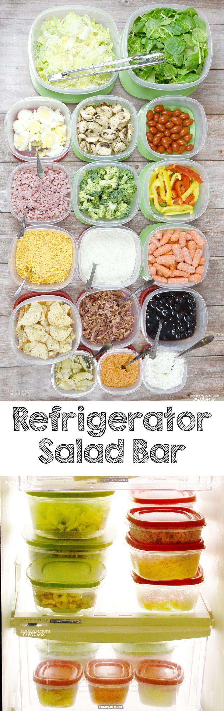 Refrigerator Hacks to Help You Eat More Fruits and Veggies! I love this DIY Refrigerator Salad Bar.
