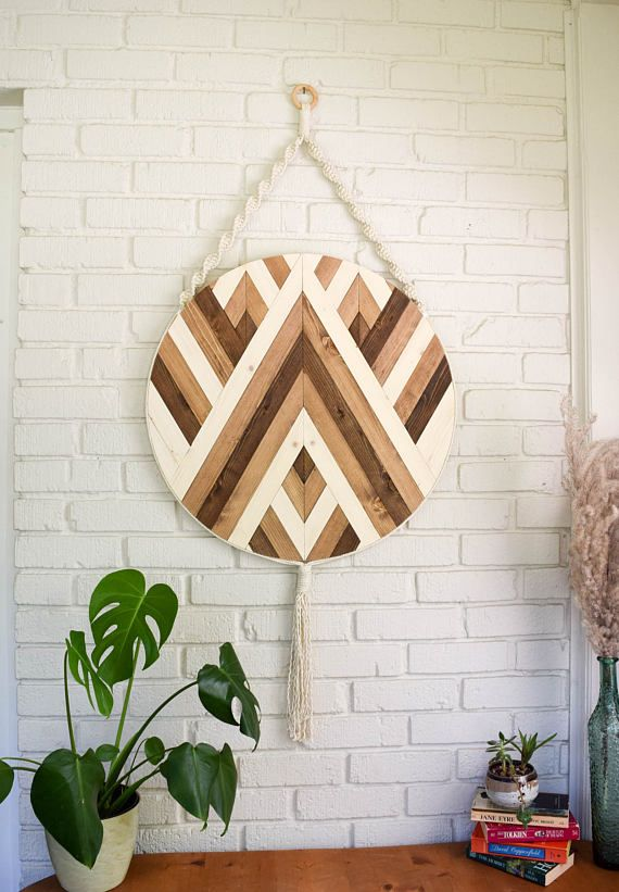 Wood wall art macrame wall hanging boho wood art round wooden wall art modern wood art round macrame fiber art boho nursery