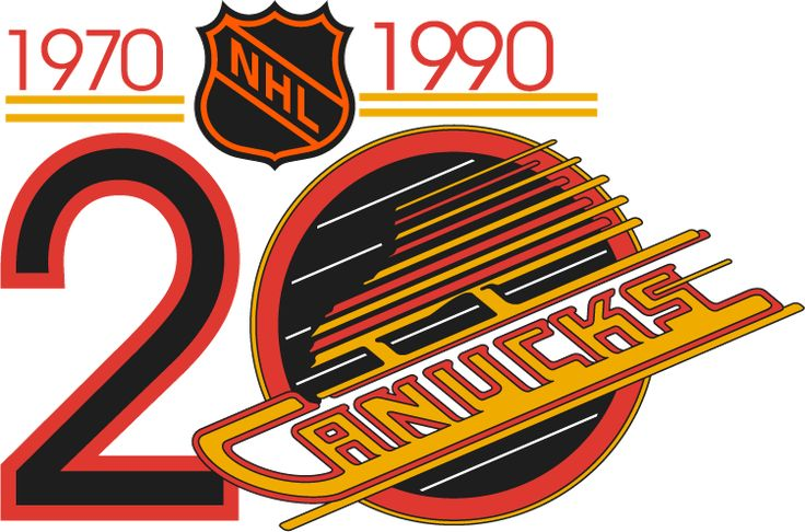 Vancouver Canucks Anniversary Logo (1990) - Vancouver Canucks 20th Anniversary Logo