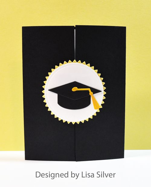 handmade graduation card ... black gatefold card ... mortar board with tassle on circle medalion ... clean and simple ...  die cut numbers with the year inside ...