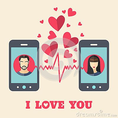 Valentine's day card with man and woman avatars on smartphone displays in flat style. Vector illustration
