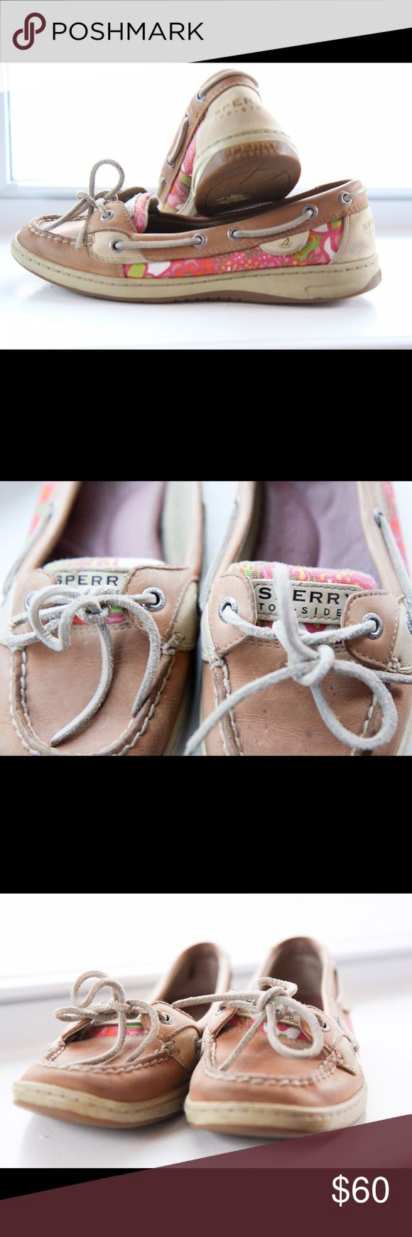 Sperry Boat Shoe with Lily Pulitzer design Sperry Firefish boat shoe. Lilly Pulitzer slide on. Gently used. Sperry Top-Sider Shoes Flats & Loafers