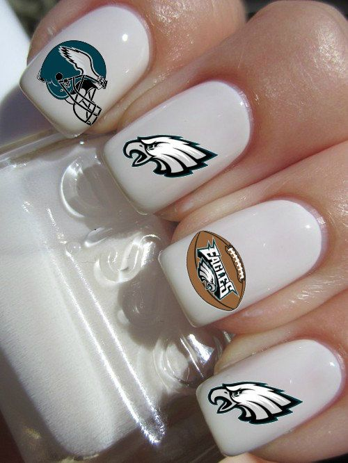 Philadelphia Eagles Football Nail Decals by PineGalaxy on Etsy, $4.50