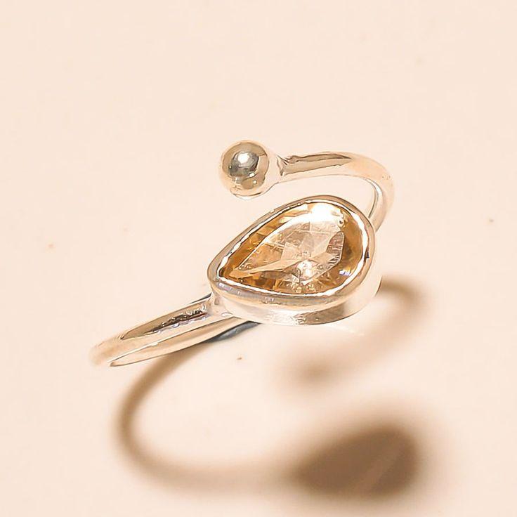 92.5% SOLID STERLING SILVER CHARMING PEAR SHAPE CITRINE TOPAZ RING (Adjustable)  #Handmade