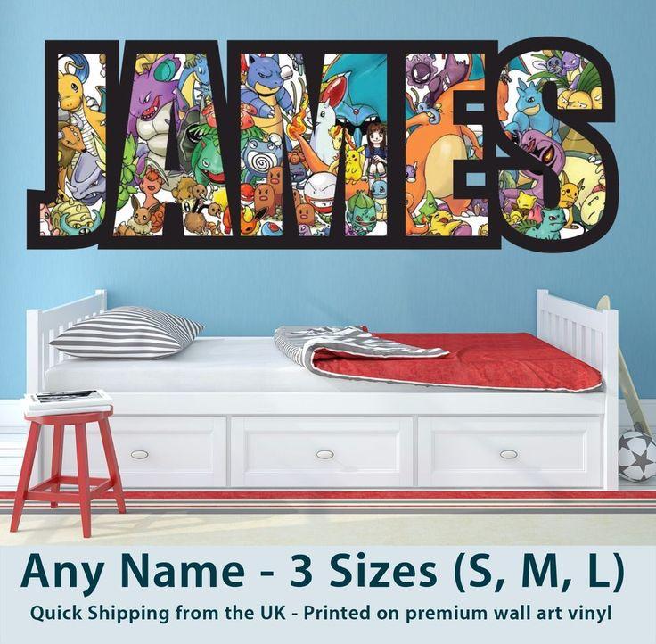 Childrens Name Wall Stickers Art Personalised Pokemon for Boys / Girls Bedroom  | eBay