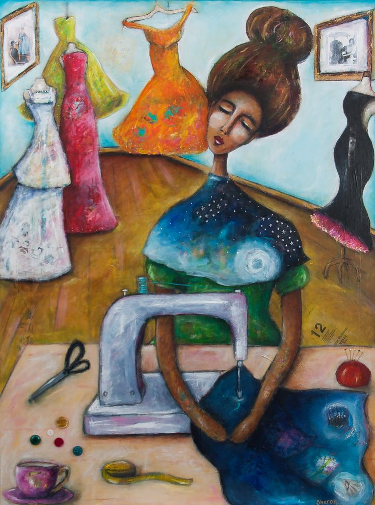 """""""The Dressmaker"""" mixed media painting on canvas by Sharon Harkness-Dobler"""