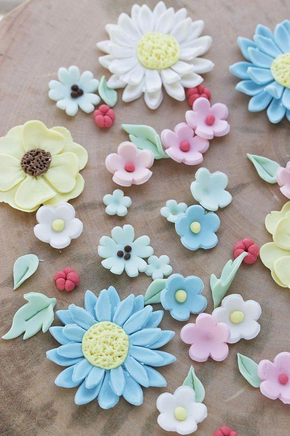 Edible fondant flowers Fondant flowers for cake Pre made ...